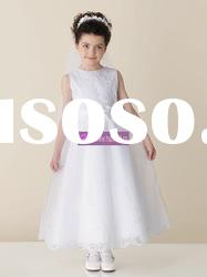 A-line Scoop Satin Organza White Flower Girl Dresses