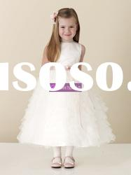 Ball Gown Scoop Satin Tulle Ivory Flower Girl Dresses