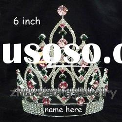 Beauty colored rhinestone custom pageant crown