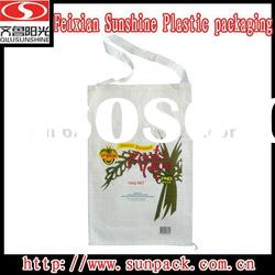 Chinese manufacturer flexo printing pp woven bag with shoulder length handle for rice packing