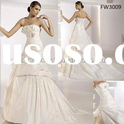FW3009 Floor Length Taffeta Strapless A Line Wedding Dresses
