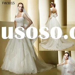 FW3015 Organza Cap Sleeve Wedding Dress With Open Back