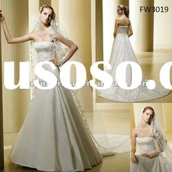 FW3019 Floor Length Taffeta Strapless A Line Wedding Dresses