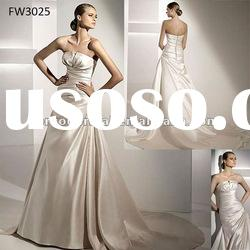 FW3025 Floor Length Satin Strapless A Line Wedding Dresses