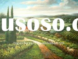 Impressional vineyard landscape oil painting