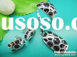 Low Wholesale Price rhodium plated r simple CZ crystal tortoise jewelry set NS010