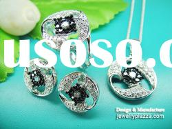 Low Wholesale Price rhodium plated simple CZ crystal pendant ring earrings jewelry set NS005