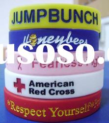 Promotional silicone wristband with debossed logo with filled colour