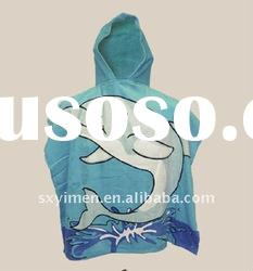 Reactive dolphin printing hooded beach towel for kids