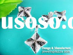 Rhodium plated Sterling Silver zircon STAR Rings & pendant earrings sets NS028