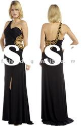 SHE162 Hot selling one-shoulder black chiffon floor-length evening Dress