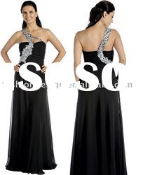 SHE175 Hot selling one-shoulder beaded black chiffon floor-length evening Dress