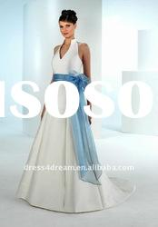 Sfront short and long back wedding dress 2012 with sash and bow