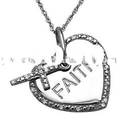 Silver Crystal Heart And Cross Pendant Necklace/Fashion Necklace For Women And Men