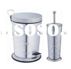 Stainless Steel Trash Can and Toilet Brush