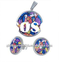 Unique Colorful artisitic collection pendant & earring stainless steel jewelry sets supplier