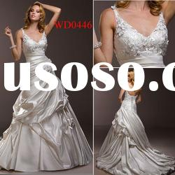 WD0446 Spaghetti Strap V-Neck A-Line Wedding Gown Dresses