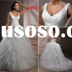 WD0450 Tulle Ball Gown Beaded on Waist Wedding White Color Dress
