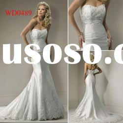 WD0489 Lace Bodice Mermaid Floor-Length Off-shoulder Casual Wedding Dresses