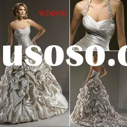 WD0490 Pleated Ball Gown Satin Junoesque Wedding Dress