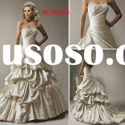 WD0494 Ball Gown Strapless Satin Slim Fit Wedding Dress