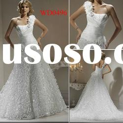 WD0496 One-Shoulder Ball Gown Organza Ruched Bodice Trumpet Wedding Dress