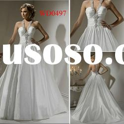 WD0497 Taffeta Halter Ball Gown Wedding Dress Crystal Ribbon