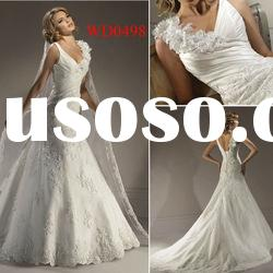 WD0498 V Neck A-Line Floor-Length Lace Split Wedding Dress