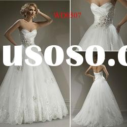 WD0507 Sweetheart Neckline Ball Gown White Irish Lace Wedding Dresses