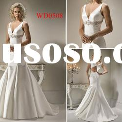 WD0508 V-Neck Stain Mermaid Long Plus Size Modest Wedding Dress