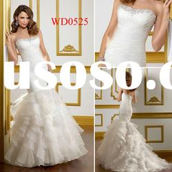 WD0525 Strapless Memaid Organza Ruffle Wedding Dress Patterns