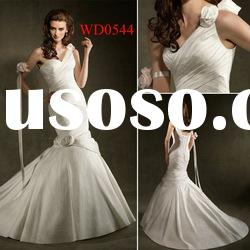 WD0544 One-Shoulder with 3D Flowers Mermaid Tight Wedding Dress