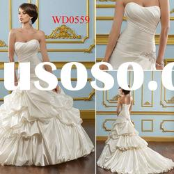 WD0559 Lustrous Satin with Beaded Appliques Goddess Wedding Dresses
