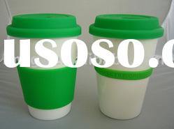 double wall ceramic cup with silicone lid
