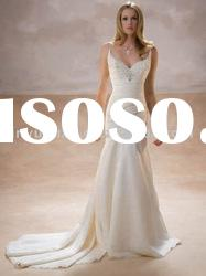 very beauty wholesale custom sleeveless spaghetti straps wedding dresses wedding gown DEW-172