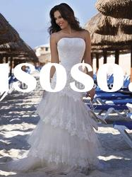 very beauty wholesale custom sleeveless strapless layered wedding dresses wedding gown DEW-151