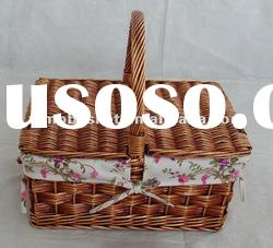 wicker food basket with lid
