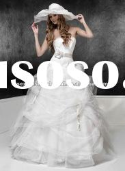 2012 strapless cosert bodice crystal accented organza skirt victorian ball gown wedding dresses