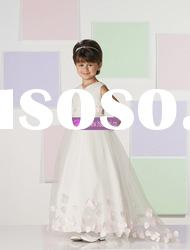 A-line Scoop Organza Lovely Pink Ivory Flower Girl Dress