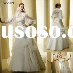 FW2989 Floor Length Organza Strapless A Line Wedding Dresses
