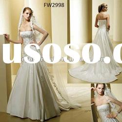 FW2998 Floor Length Taffeta Strapless A Line Wedding Dresses