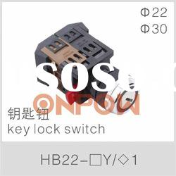 HB22 key lock switch,key selector switch,key switch