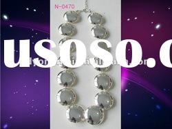 Latest design 2012 fashion jewelry charming shiny silver plating large beaded necklace