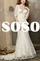 Low back designer Lace Sleeves wedding dress 2012 NSW3206