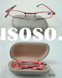 R733 metal folding reading glasses with case