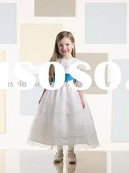 VF066 Beautiful short sleeve organza flower girl dresses