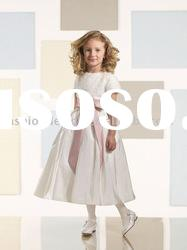 VF070 Beautiful short sleeve taffeta flower girl dresses