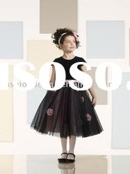 VF074 Beautiful short sleeve tulle flower girl dresses