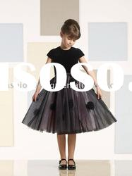 VF075 Beautiful short sleeve tulle flower girl dresses