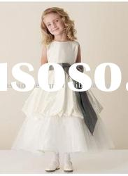VF100 Beautiful sleeveless taffeta flower girl dresses